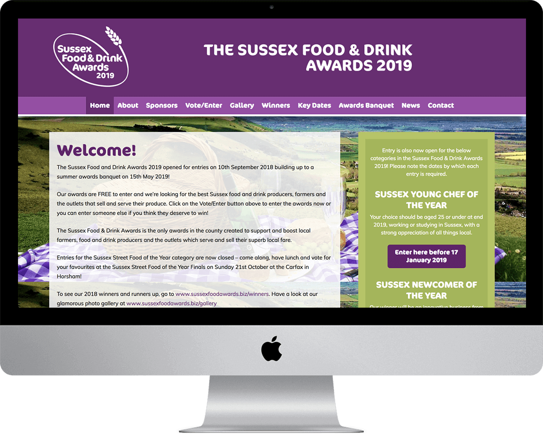 The Sussex Food and Drink Awards website built by Digital Fuse